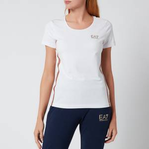 Emporio Armani EA7 Women's Train Logo Series T-Shirt - White/Lurex Bronze