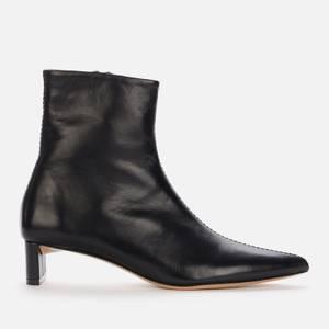 Mansur Gavriel Women's Pointy Leather Heeled Boots - Black