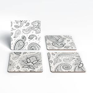 Neutral Paisley Coaster Set