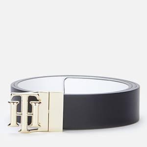Tommy Hilfiger Women's TH Logo Reversible Belt 3.0 - Black/White
