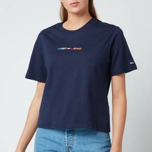 Tommy Jeans Women's Tjw Boxy Crop Multi Linear Tee - Twilight Navy