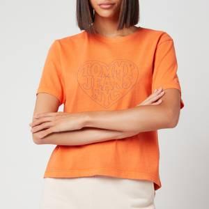 Tommy Jeans Women's Tjw Bxy Stitch Tee - Washed Orange
