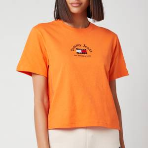 Tommy Jeans Women's Tjw Boxy Cropped Timeless Tommy 1 Tee - Washed Orange
