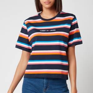 Tommy Jeans Women's Thw Bxy Crop Stripe Tee - Twilight Navy/Multi