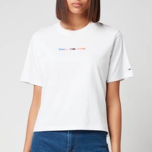 Tommy Jeans Women's Tjw Bxy Crop Multi Linear Tee - White