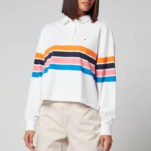 Tommy Jeans Women's Tjw Bxy Crop Stripe Polo Ls - White/Multi