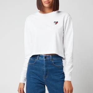 Tommy Jeans Women's Tjw Bxy Crop Homespun Heart Ls - White