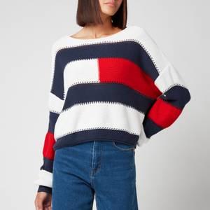 Tommy Jeans Women's Tjw Rwb Stripe Jumper - Snow White/Multi