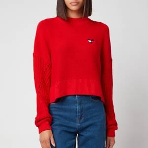 Tommy Jeans Women's Tjw Homespun Heart Logo Sweater - Deep Crimson