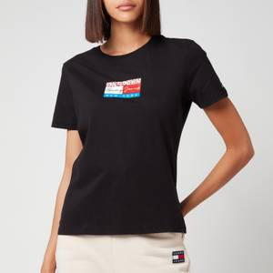 Tommy Jeans Women's Tjw Slim Floral Flag T-Shirt Black