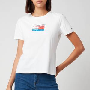 Tommy Jeans Women's Tjw Slim Floral Flag Tee - White