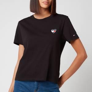 Tommy Jeans Women's Tjw Regular Homespun Heart Tee - Black