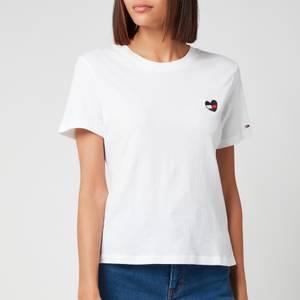 Tommy Jeans Women's Tjw Regular Homespun Heart T-Shirt - White