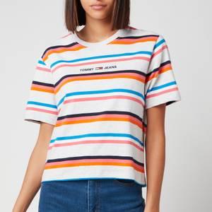 Tommy Jeans Women's Tjw Bxy Crop Stripe Tee - Silvery Grey Htr/Multi