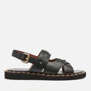 Coach Women's Gemma Leather Flat Sandals - Black