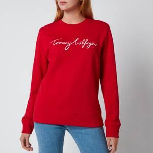 Tommy Hilfiger Women's Regular Graphic Crewneck Sweatshirt - Primary Red