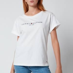 Tommy Hilfiger Women's Relaxed Hilfiger Crewneck T-Shirt - White