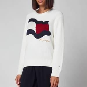 Tommy Hilfiger Women's Org Co Flag Crewneck Sweatshirt - Ecru