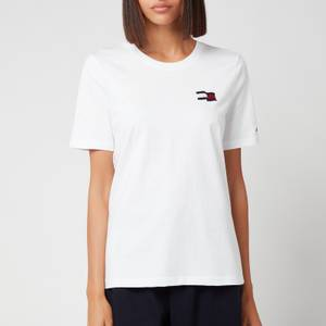 Tommy Hilfiger Women's Regular Motion Flag Crewneck T-Shirt - White
