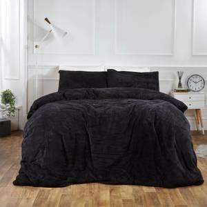 Black Teddy Fleece Duvet Set