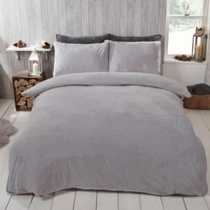 Grey Teddy Fleece Duvet Set