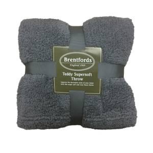 Charcoal Teddy Fleece Throw