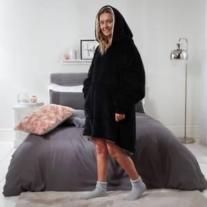 Black Fleece Hooded Blanket - Adult
