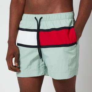 Tommy Hilfiger Men's Flag Medium Drawstring Swim Shorts - Sea Mist Mint