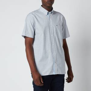 Tommy Hilfiger Men's Soft Stripe Short Sleeve Shirt - Carbon Navy/White