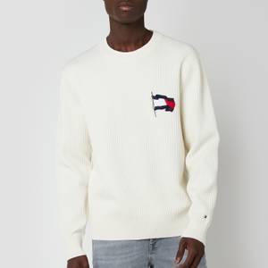 Tommy Hilfiger Men's Wavy Flag Knitted Jumper - Ivory