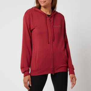 Emporio Armani Loungewear Women's Signature Full Zip Jacket with Hood - Pomegranate