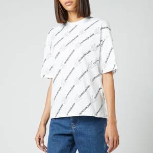 Calvin Klein Jeans Women's Logo Aop T-Shirt - Logo AOP White