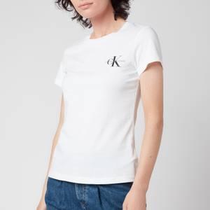 Calvin Klein Jeans Women's Monogram Logo 2-Pack Slim T-Shirt - CK Black/Bright White