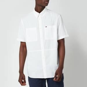Tommy Jeans Men's Regular Solid Short Sleeve Shirt - White Atlas