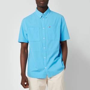 Tommy Jeans Men's Regular Solid Short Sleeve Shirt - Frigid Blue