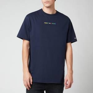 Tommy Jeans Men's Multicolour Logo Linear Logo T-Shirt - Twilight Navy
