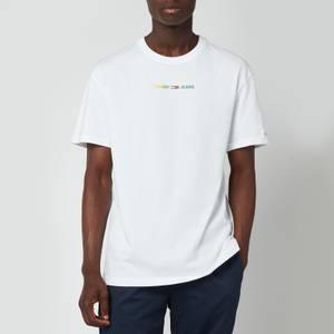 Tommy Jeans Men's Multicolour Logo Linear Logo T-Shirt - White
