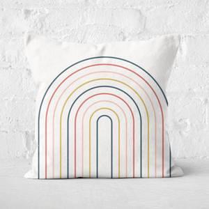 Striped Oval Retro Motif Square Cushion