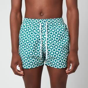 Frescobol Carioca Men's Ipanema Shorts - Green Lagoon/Off White