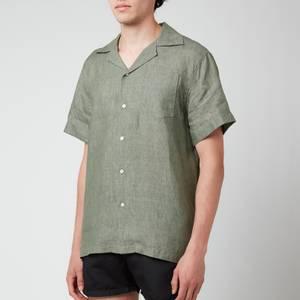 Frescobol Carioca Men's Thomas Linen Short Sleeve Shirt - Green Bay