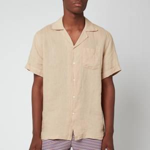 Frescobol Carioca Men's Thomas Linen Short Sleeve Shirt - Sand Dune