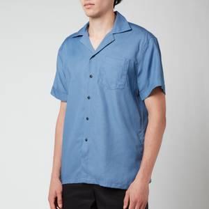 Frescobol Carioca Men's Thomas Tencel Short Sleeve Shirt - Slate Blue