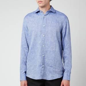 Frescobol Carioca Men's Antonio Linen Long Sleeve Shirt - Melange Blue