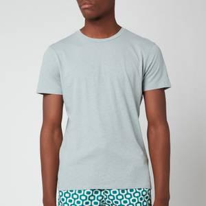 Frescobol Carioca Men's Linen Blend Crew T-Shirt - Green Bay