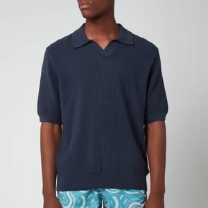 Frescobol Carioca Men's Rino Cotton Silk Blend Polo Shirt - Navy