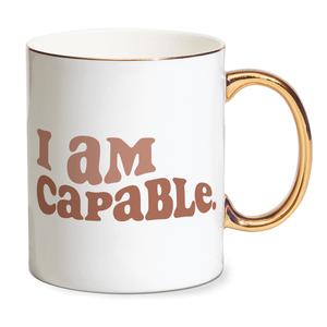 I Am Capable Bone China Gold Handle Mug