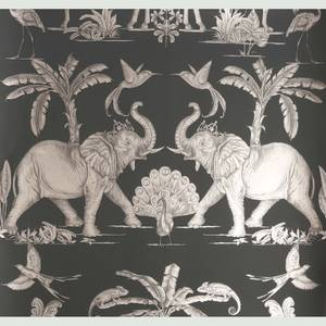 Elephants Charcoal Pale Gold Wallpaper