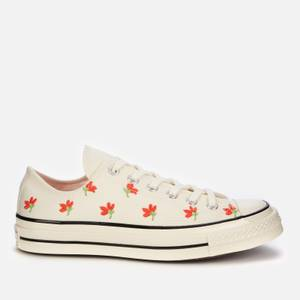 Converse Women's Chuck 70 Embroidered Garden Party Ox Trainers - Egret/Bright Poppy/Black