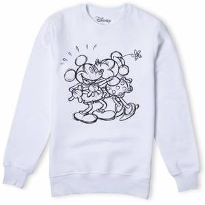 Disney Mickey Mouse Kissing Sketch Sweatshirt - White