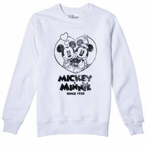 Disney Sweatshirt Minnie Et Mickey Since 1928 - Blanc
